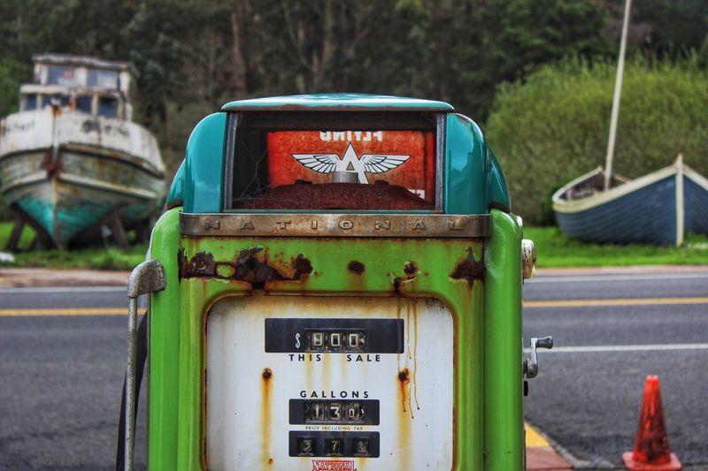 Close-up of abandoned fuel pump
