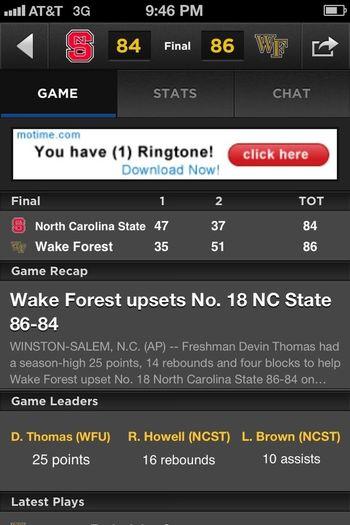 My wake boys won thoooooo 86-84