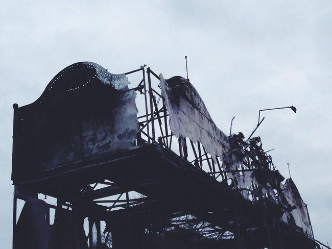 Berlin, 2014 Berlin Alexanderplatz Christmasmarket Burned Burned Out Burneddown