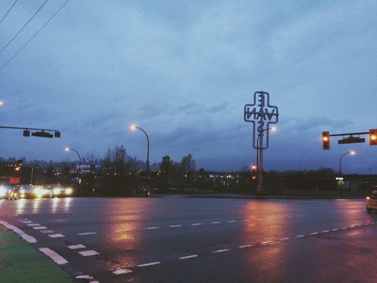 street light, illuminated, road, transportation, sky, no people, outdoors, tree, night, city