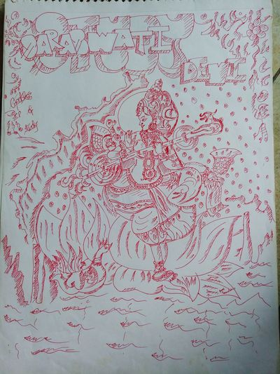 my favourite sketch by pen ... Devi Saraswati Blessed  Beauty In Nature Real People God God's Beauty Goddess God Is Great. Gods Creation Godscreation Technology Computer Crime Communication Full Frame Close-up Binary Code Pixelated Mother Board Artificial Intelligence Graphical User Interface Www The Portraitist - 2018 EyeEm Awards EyeEmNewHere