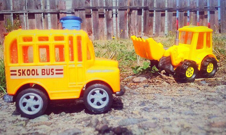 Transportation Yellow Land Vehicle Mode Of Transport Wheel Parking Roadside Outdoors School Bus Front Loader Toys