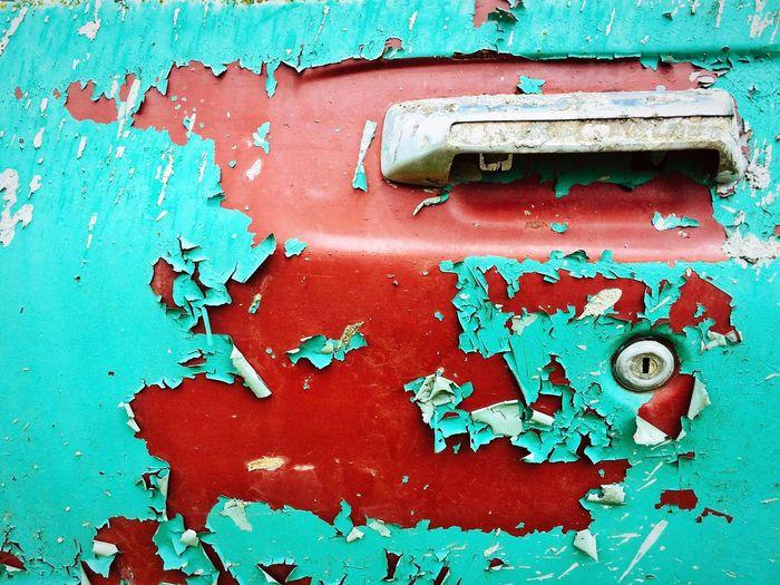 Close-up of abandoned mailbox