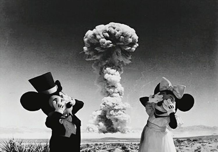 B&w Street Photography Mickey Mouse Minnie Mouse Explosive