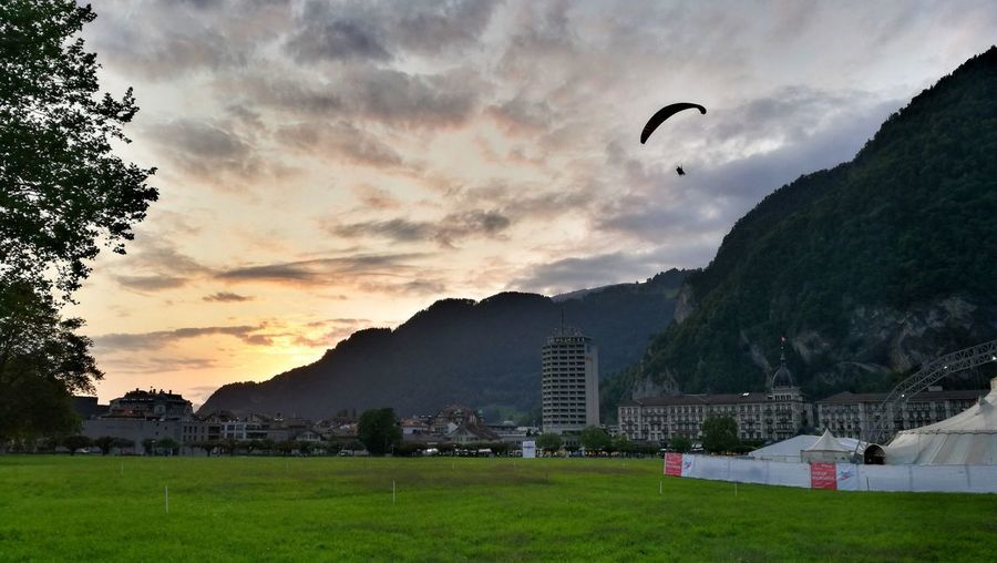 Flying Paragliding Day Sky Landscape Mountain Outdoors Bernese Oberland Switzerland Berner Oberland Eye4photography  Interlaken Switzerlandpictures Beauty In Nature Mid-air Tree People Bird One Person Nature Grass