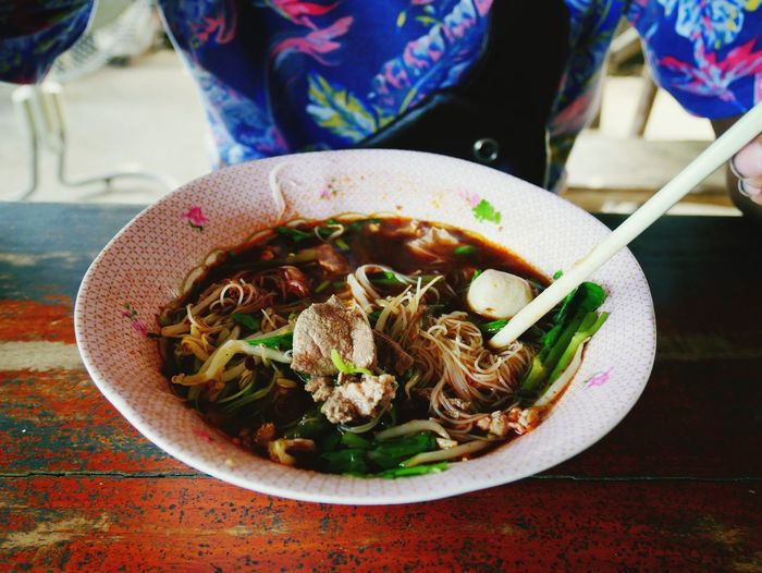 Noodle is delicious Thai food. City Appetizer Bowl Plate Close-up Food And Drink Chinese Dumpling Soup Bowl Chinese Food Noodles Noodle Soup Dim Sum Thai Food Steamed  Asian Food Ramen Noodles Bean Sprout Stir-fried Spring Onion Vegetable Soup Chopsticks Soy Sauce Wok Spring Roll Soup Chinese Takeout Dumpling  Japanese Food Soybean Boiled Egg Scallion