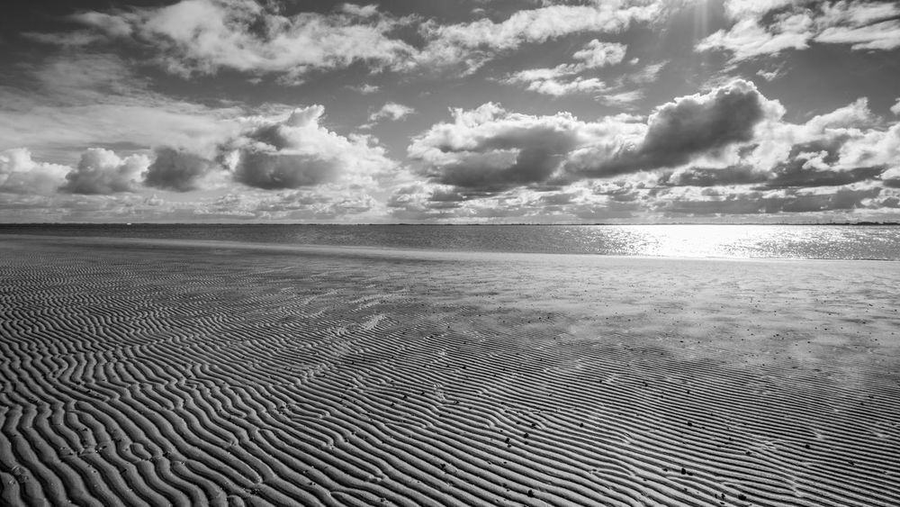Beach Beauty In Nature Blackandwhite Blackandwhite Photography Cloud - Sky Clouds Day Horizon Over Water Island Landscape Langeoog Nature No People Northsea Outdoors Sand Scenics Sea Sky Tranquil Scene Tranquility Tranquility Water