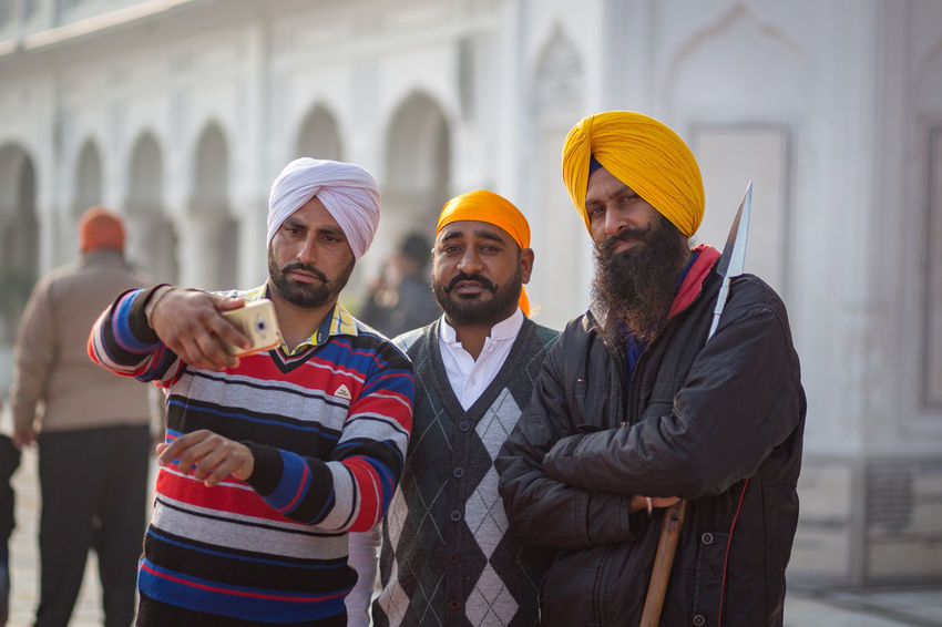 Selfie time with two sikh men and a guard at the Golden Temple in Amritsar, India Amritsar Golden Golden Temple Guard India Lifestyles Only Men People Portrait Punjab Punjabi Safety Selfie Sikh Sikh Temple Sikhism Temple Traditional Traditional Clothing Turban Young Adult