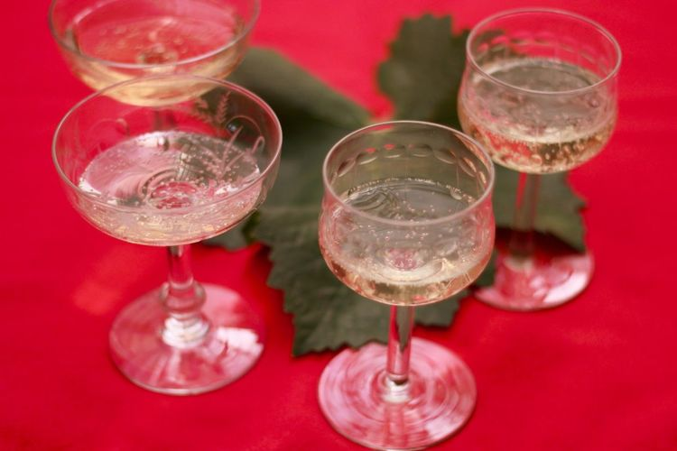 Wine Moments Drinking Glass White Wine Champagne Alcohol Drink Wineglass Close-up Cocktail Day For Rest Red Tablecloth Happy Moment