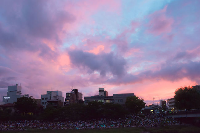 The audience came to see the Gozan no Okuribi in Kyoto 2018. Gozan No Okuribi Japan Matsuri Sunset_collection Audience Crowd Beauty In Nature City City Life Cloud - Sky Dusk Festival Kansai Kyoto Nature Orange Color Outdoors People Pink Color Purple Residential District Romantic Sky Sky Sunset Tree Watching HUAWEI Photo Award: After Dark