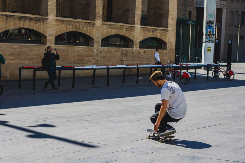 Practicing People Outdoors Architecture One Person Adult Day Adults Only Street Photography Skatepark Improvised Portrait Of A City Beautiful Barcelona Travel Destinations Adults Only Skateboarding Skateboard Skate Skateboard Park Tricks Building Exterior Modern Art Museum Sport Clear Sky Break The Mold