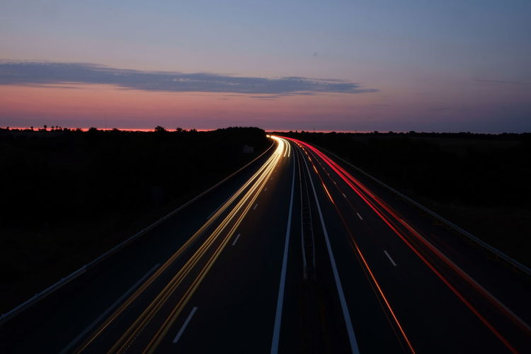 City Illuminated Space Road Sunset Motion Red Speed Freight Transportation Politics And Government Vehicle Light Light Trail High Street