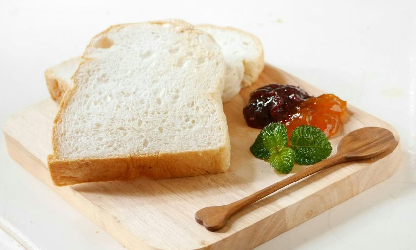 My wife's breakfast.. Breakfast ♥ Bread Fruitjam Mint