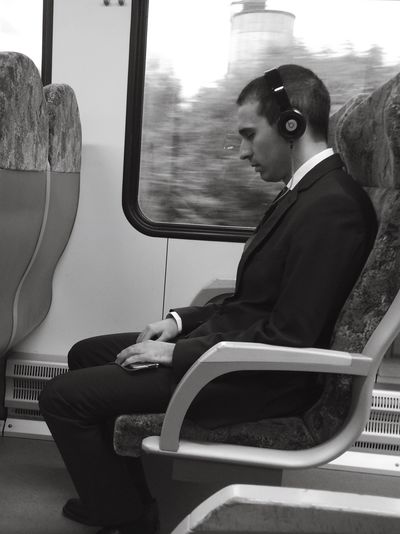 Real People Train - Vehicle Well-dressed Sleeping Music On Way To Work Train Lonely Road