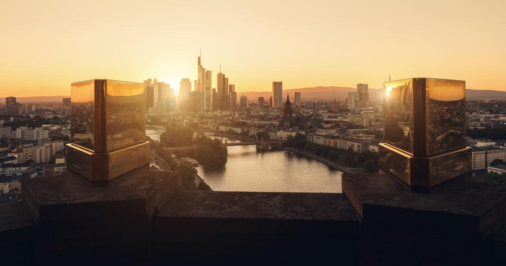 Skyline of frankfurt at sunset
