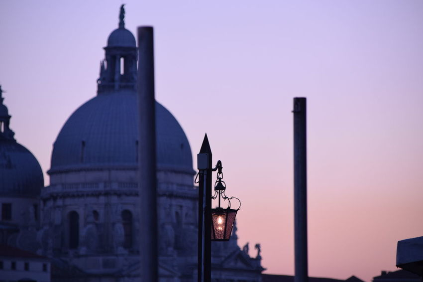 Silhouette Architecture Built Structure Building Exterior No People Sunset Place Of Worship Dome Religion Sky Spirituality Sculpture Outdoors Night Statue Venezia
