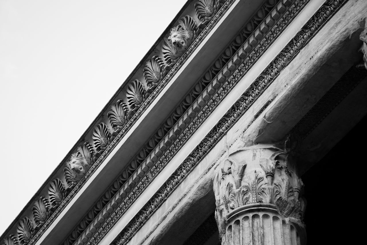 architecture, no people, low angle view, built structure, history, the past, craft, art and craft, sky, sculpture, creativity, indoors, carving - craft product, close-up, day, clear sky, human representation, architectural column, building, ornate