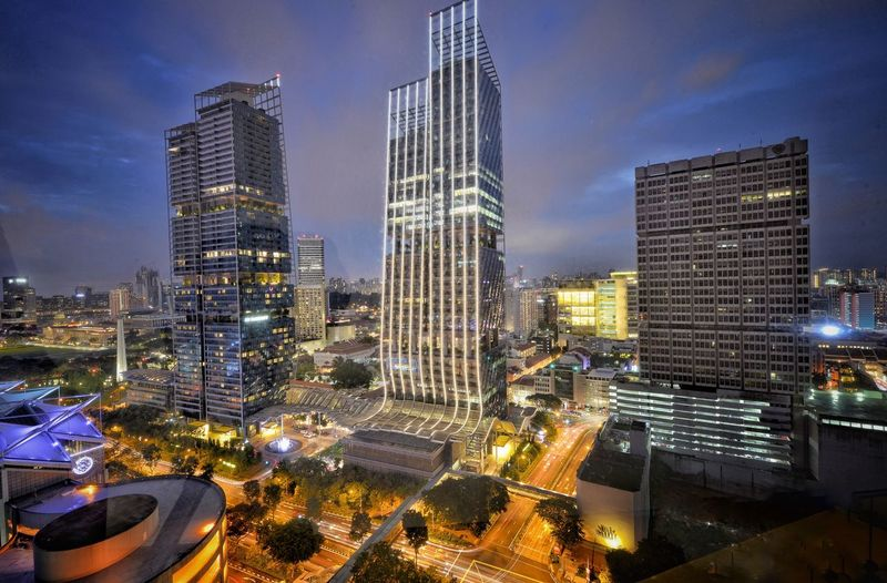 Building Exterior Architecture Built Structure City Illuminated Office Building Exterior Building Skyscraper Night Modern Cityscape Tall - High Office Tower Travel Destinations