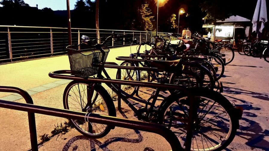 Parked bicycles parked