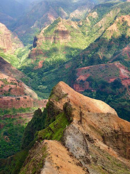 Hawaii Kauai Waimea Canyon Mountain Landscape Nature Scenics Beauty In Nature Outdoors Tranquility Tranquil Scene Day No People Mountain Range Textures And Surfaces Backgrounds Kauai Hawaii