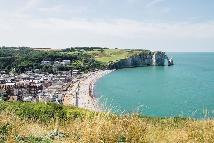 High angle view of cliff and beach at etretat