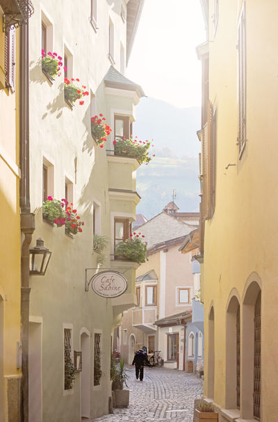 Morning light in a cobblestone street in the town of Bressanone in the Italian Alps. Bressanone Brixen /Bressanone Building Exterior Buildings Cobblestone Streets Day Europe European  Historic Italian Alps Italy Outdoors Sunlight Travel Travel Photography Vacation