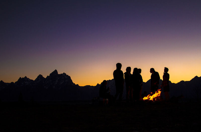 Photo by Daniel Bastilla Sunset Grand Tetons National Park Firecamp Camping Friends Summer