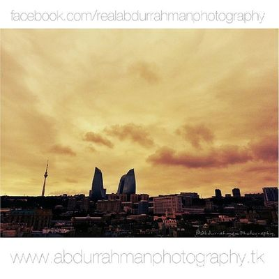 Baku, Azerbaijan in the evening. View from Kiz Kalesi :) Abdurrahmanphotography Azerbaijan Skyline Sunset inepo instagood buildings clouds baku likeforlike amazing travels journey s3