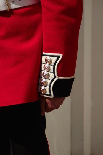 Close-up of man wearing red shirt