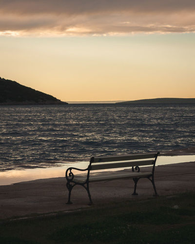 First Row... Thinking Beauty In Nature Bench Cloud - Sky Horizon Horizon Over Water Lonliness No People Outdoors Promenade Relax Scenics - Nature Sea Sky Sunset Tranquil Scene Tranquility Water