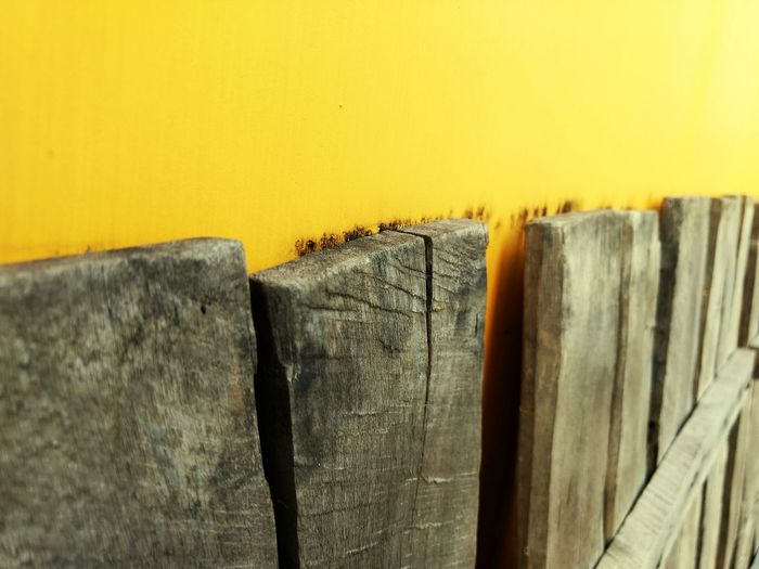 Close-up Yellow Wooden Detail Wall Backgrounds Textured  Wall - Building Feature Architecture Full Frame Built Structure Part Of Weathered Macro Plank Medium Group Of Objects Extreme Close Up Obsolete No People Vibrant Color