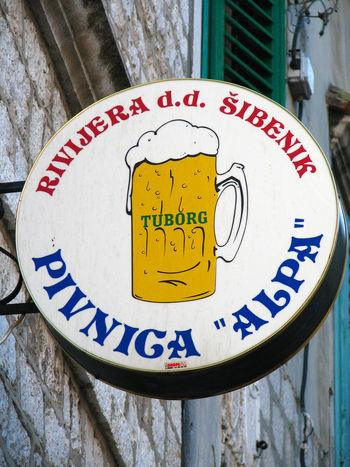Street Advertising Day Outdoors Text Communication Close-up No People Beer Sign Beer Glass Bar Sign Restaurant Sign Beer Froth Sibenik, Croatia Lager For Sale Tuborg Sign