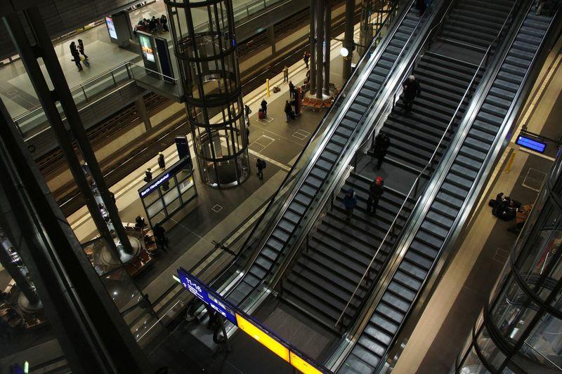 High Angle View Of Escalator At Shopping Mall