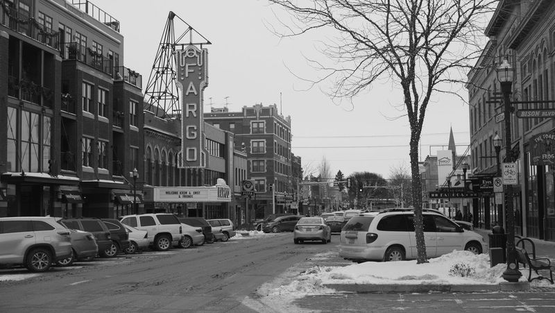 December 19, 2016 / Downtown Fargo Architecture Black And White Building Exterior Car City City Life City Street Cityscape Clear Sky Day Downtown Fargo Fargo Land Vehicle Monochrome No People North Dakota Outdoors Sky Street The Way Forward Tree