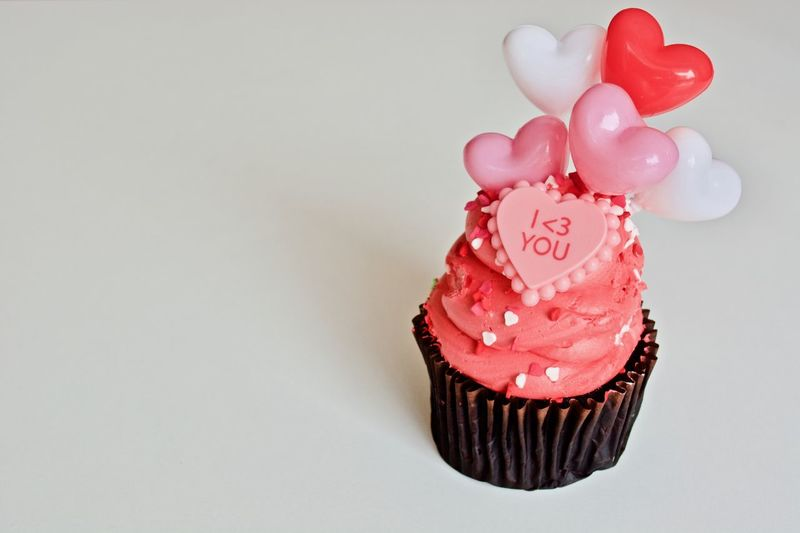 Sweet Food Indulgence Food And Drink Cupcake No People Candy Dessert Temptation Unhealthy Eating Food Indoors  White Background Close-up Day Tasty😋 Food Photography Pink Hearts Maffin Colorful Valentine's Day  Baked Cake Candy Heart Pink Cake