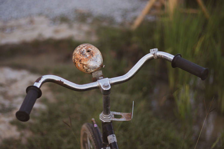 High angle view of rusty bicycle outdoors