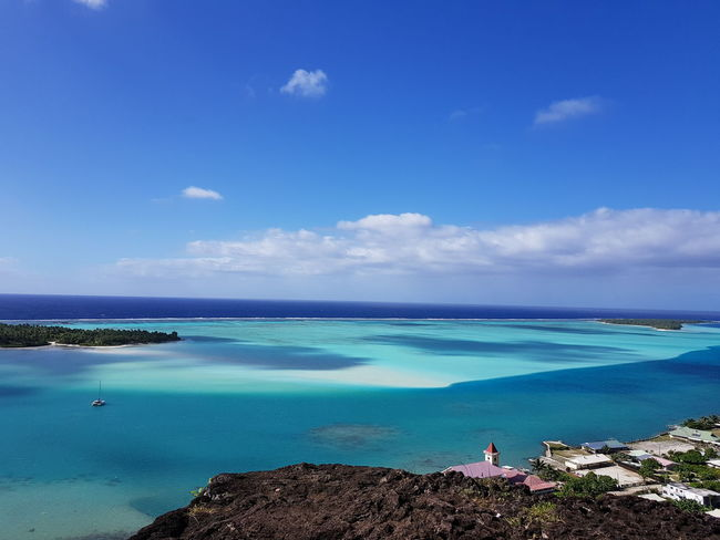 Travel Destinations Tahiti Vacations Water Sky Blue Vacations Beauty In Nature Cloud - Sky Landscape French Polynesia Nature Maupiti Beauty In Nature Mountain Ilsland Sea