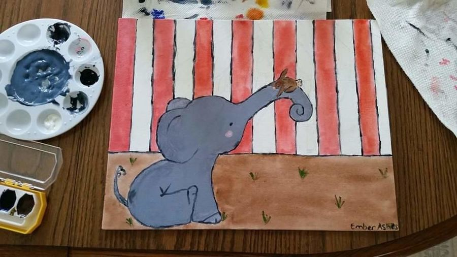 Embers Painting Canvas Paint Elephants Bunny  Cute Adorable Paintings Art Check This Out Enjoying Life
