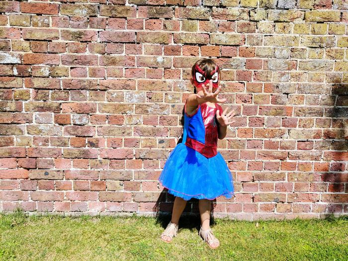 Super Powers Summer Full Length Lifestyles Fancy Dress Superhero Superheroes Super Hero Spider Girl Spider Woman One Person Standing Bricks Mask Mask - Disguise Young Adult Girl EyeEm Ready   Childhood Day Child Outdoors