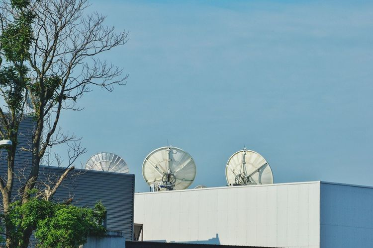Satellite Dish Communication Day Outdoors Built Structure Tree Architecture No People Technology Telecommunications Equipment Building Exterior Sky Syracuse Ny Armory Square City Rooftop Low Angle View Metal Urban Sattelite Dish Steel