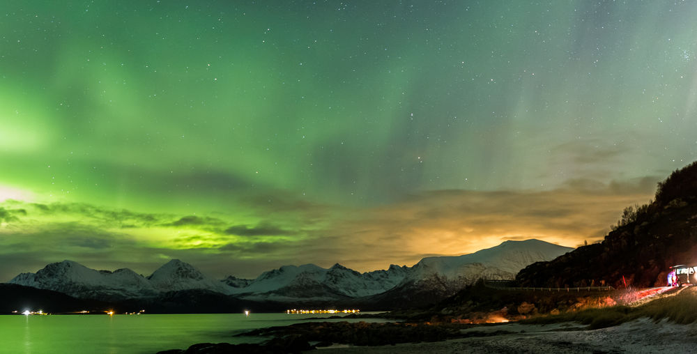 Aurora Aurora Borealis Northern Lights Sommaroy Arctic Circle Beauty In Nature Landscape Mountain Nature Night Outdoors Scenics Sky Sommarøy Troms