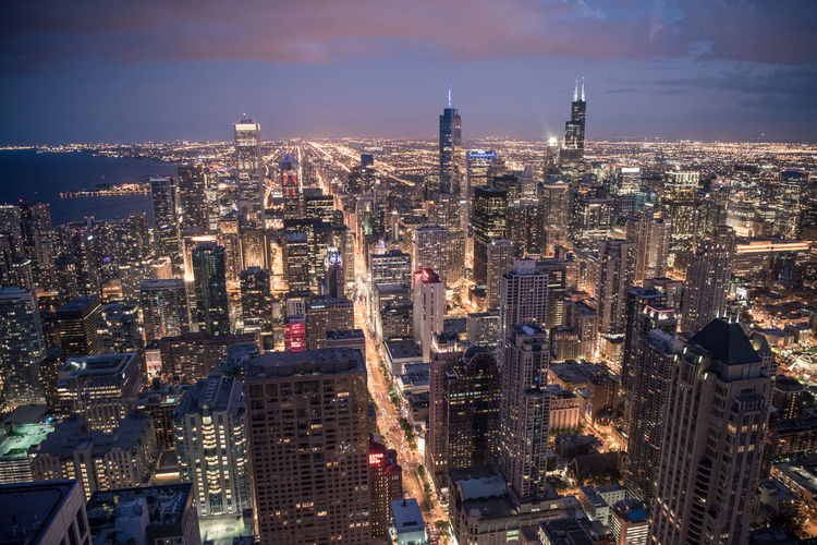 Windy City Skyline After Sunset Architecture Chicago City City Life Cityscape Exploring Modern Nightphotography Panorama Streets Taking Photos Travel Building Exterior City Lights Colorful Enjoying Life Evening High Angle View Light And Shadow Metropolitan No People Skyscraper Travel Destinations Urban Skyline