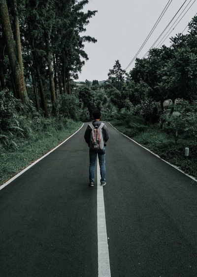 Rear view of man standing on road amidst trees