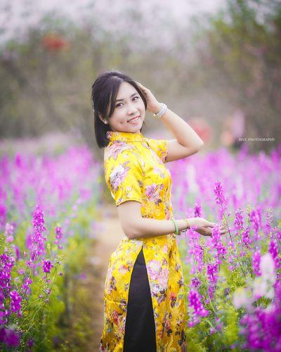 Aodai Yellow Flowers Girls Beauty Portrait Spring Canon 6D 80200
