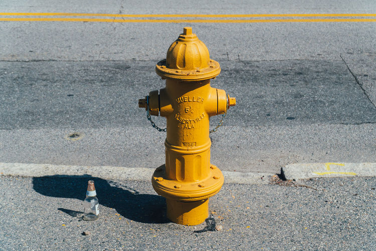High angle view of fire hydrant on street