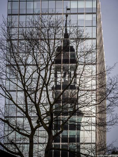 Pattern Pieces of windows - a mirror for St. Michael Church in Hamburg Church Churchtower Mirrored Windows Office Building Church Steeple St. Michael Michel Tree Steeple Church Spire