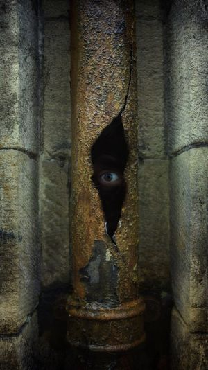 Photography Xfiles Tooms Drain Drainpipe Eye Hole Crack Rust Water Urban City Photoshop Edit Spooky Monster