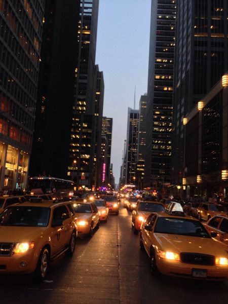 NYC Cabs Evening Lights Perspective