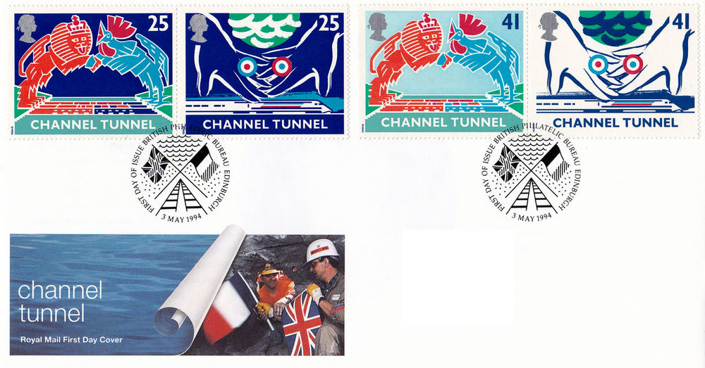 People Airplane Day 1994 Adult Chart Commemorative Stamps First Day Covers Channel Tunnel Opening English Celebrations