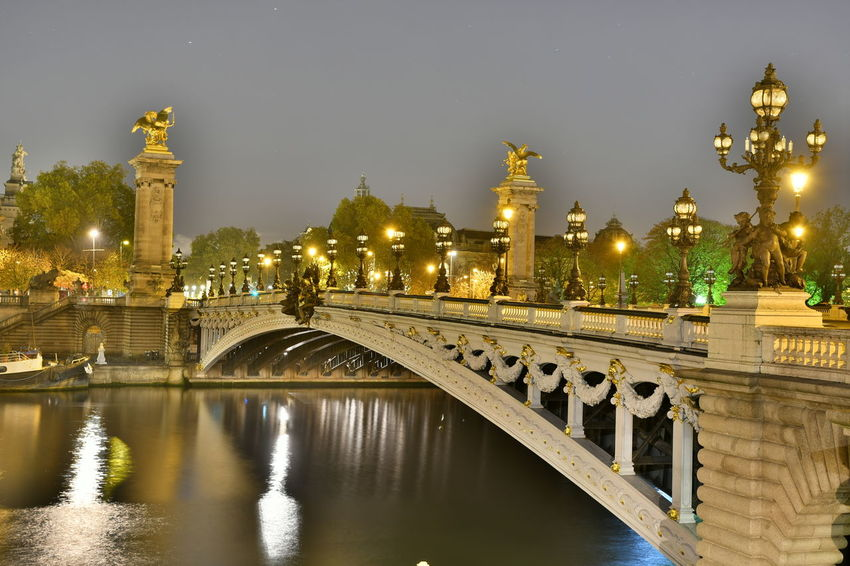 Bridges Paris Paris, France  Pont Alexander III Pont Alexandre III Seine Seine River Arch Architecture Bridge Bridge - Man Made Structure Bridgeporn Building Exterior Built Structure City Illuminated Nature Night No People Outdoors River Sky Street Light Travel Destinations Tree Water Waterfront